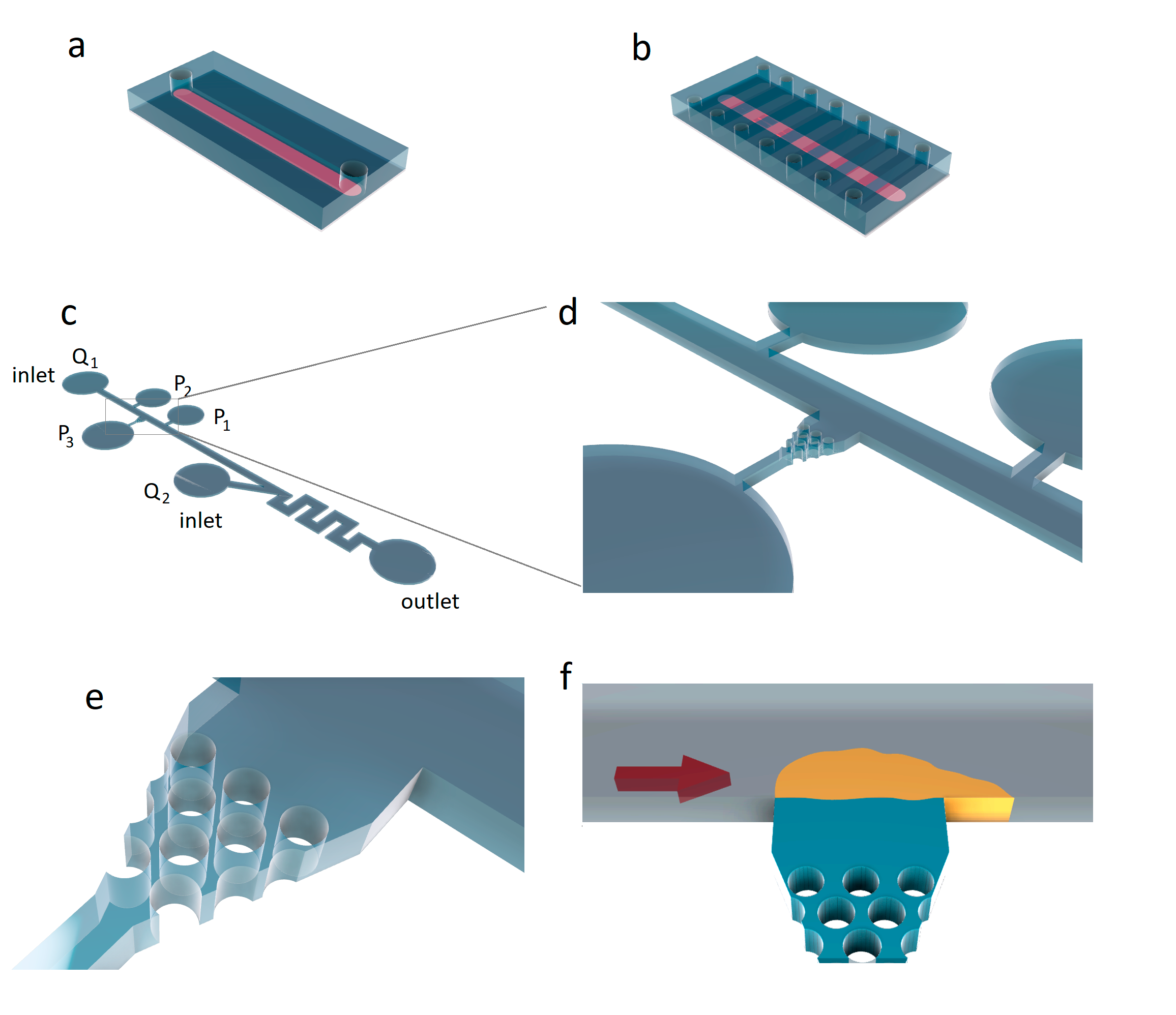 Microfluidic devices for analysis of thrombus formation under controlled shear. a) A 100 μm strip of collagen (red) was deposited and immobilized with a microfluidic pattern along the length of the slide. b) A microfluidic device with a set of channels was oriented perpendicular to the collagen pattern (red). Adapted from [7]. с-e) Microfluidic device with adjustable pressure gradients. The constant flow rate Q1 was provided by the syringe pump. The presence of pressure transducers (P1, P2 and P3) and additional inlet Q2 allowed controllable pressure gradient in the thrombus formation zone (e,f). f) Thrombus (orange) was formed on a collagen (blue) located between the PDMS pillars (white circles). Adapted from [8].